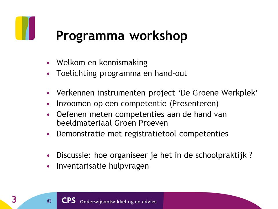 Programma workshop Welkom en kennismaking