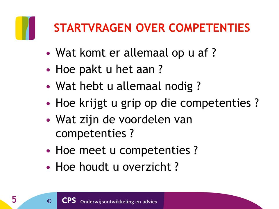 STARTVRAGEN OVER COMPETENTIES