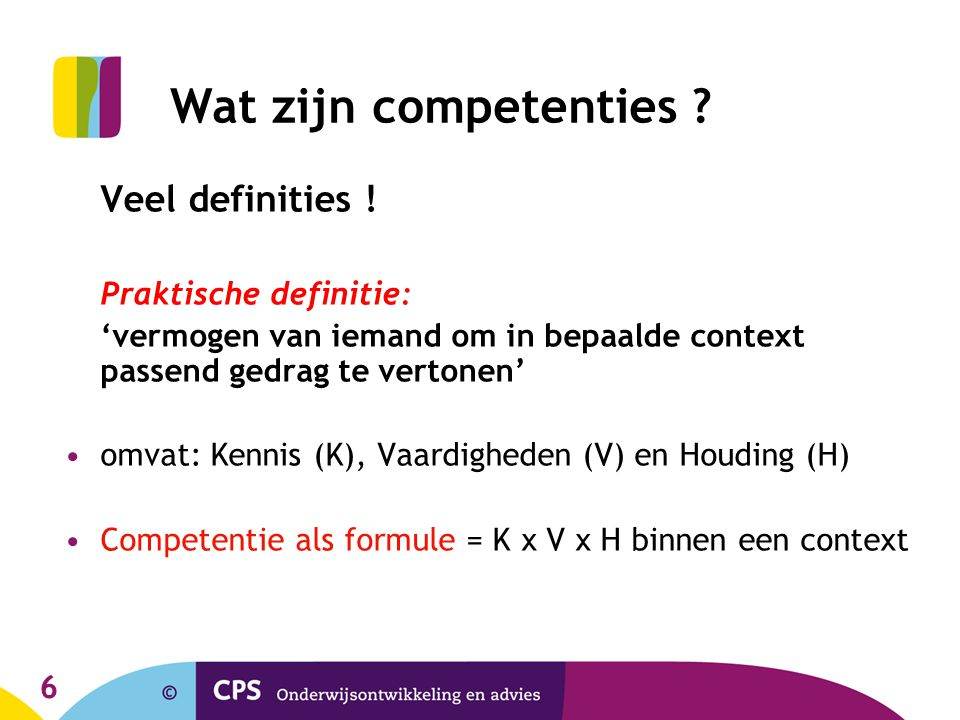 Wat zijn competenties Veel definities !