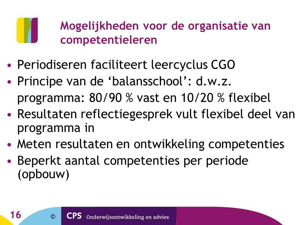 Mogelijkheden voor de organisatie van competentieleren