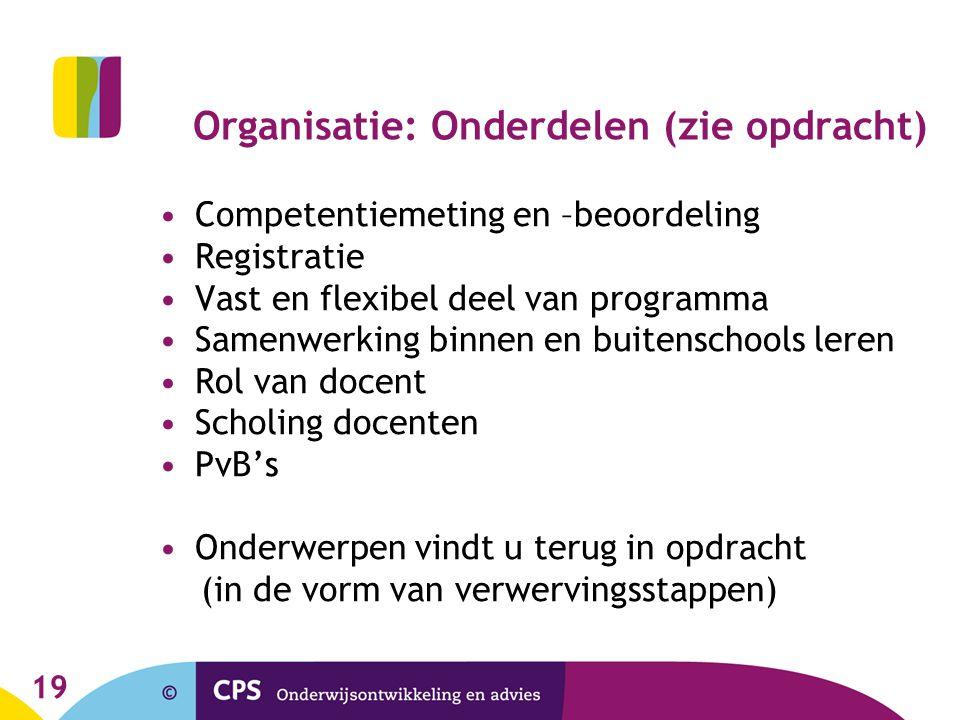 Organisatie: Onderdelen (zie opdracht)