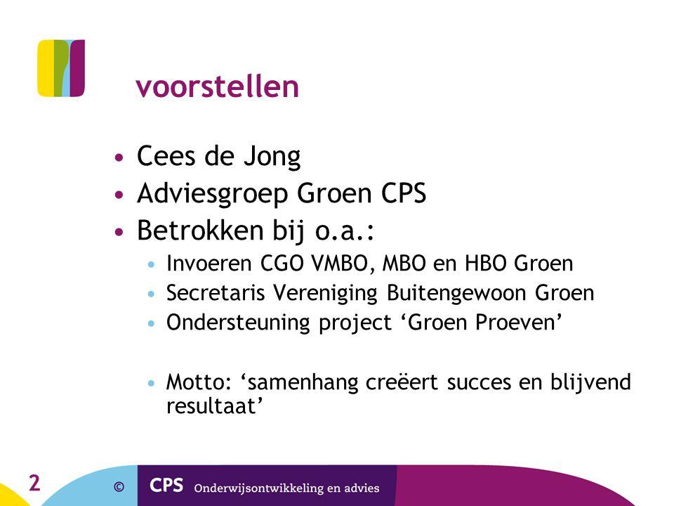 voorstellen Cees de Jong Adviesgroep Groen CPS Betrokken bij o.a.:
