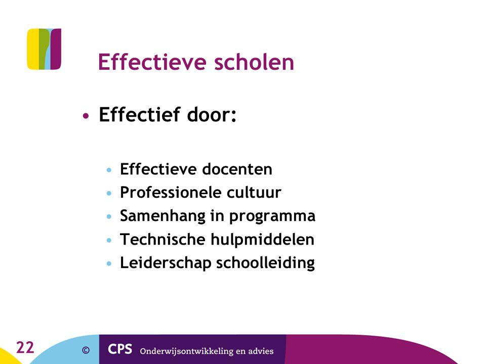 Effectieve scholen Effectief door: Effectieve docenten