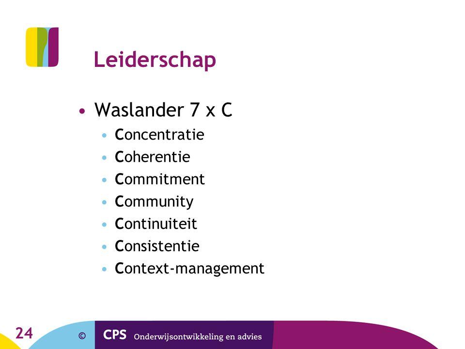 Leiderschap Waslander 7 x C Concentratie Coherentie Commitment