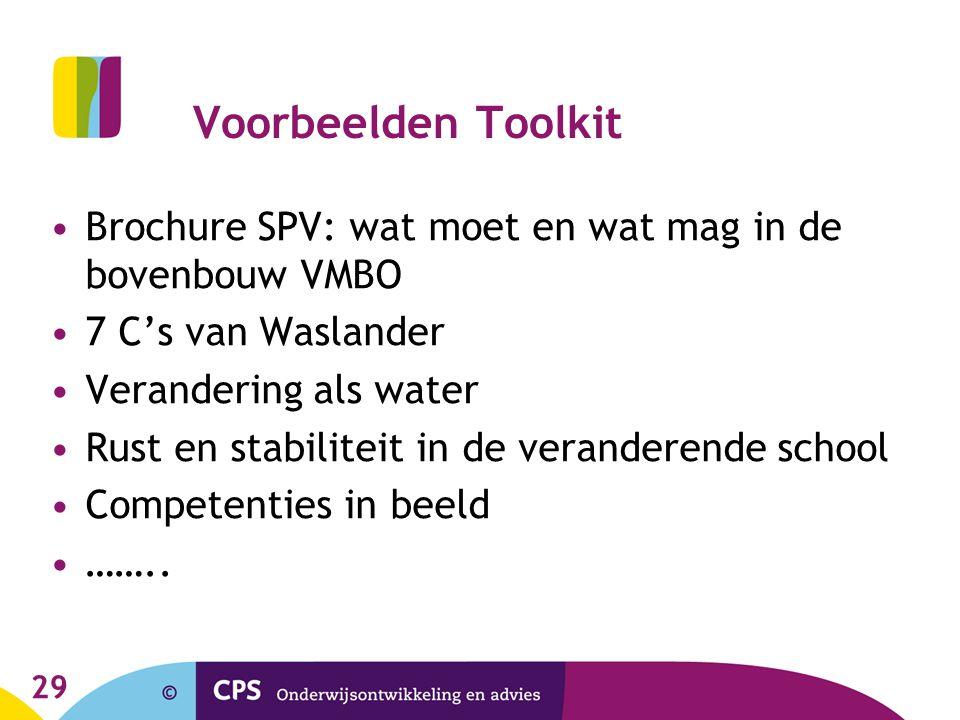 Voorbeelden Toolkit Brochure SPV: wat moet en wat mag in de bovenbouw VMBO. 7 C's van Waslander. Verandering als water.
