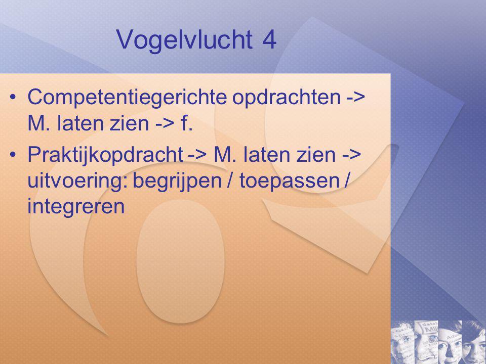 Vogelvlucht 4 Competentiegerichte opdrachten -> M. laten zien -> f.