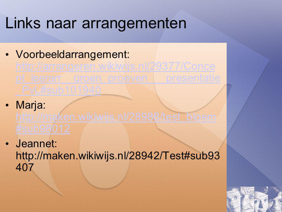 Links naar arrangementen