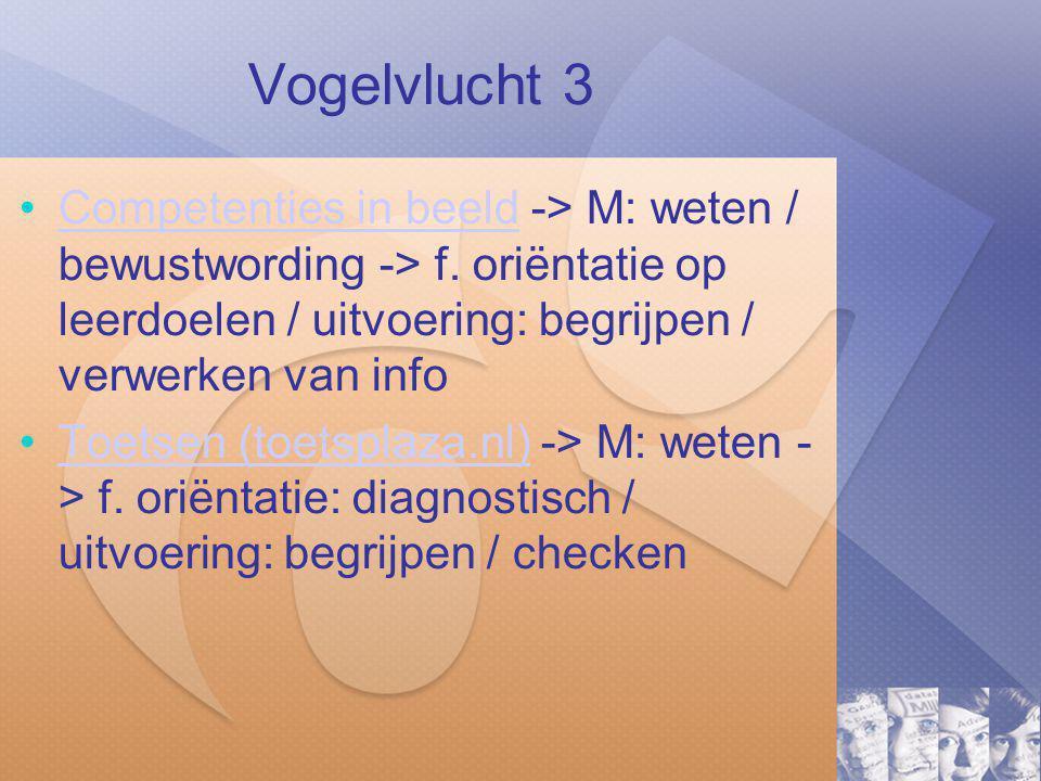 Vogelvlucht 3 Competenties in beeld -> M: weten / bewustwording -> f. oriëntatie op leerdoelen / uitvoering: begrijpen / verwerken van info.