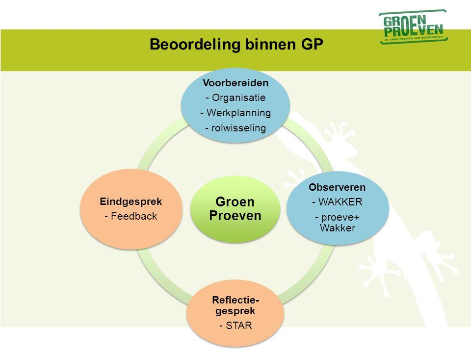 Beoordeling binnen GP Groen Proeven Voorbereiden - Organisatie