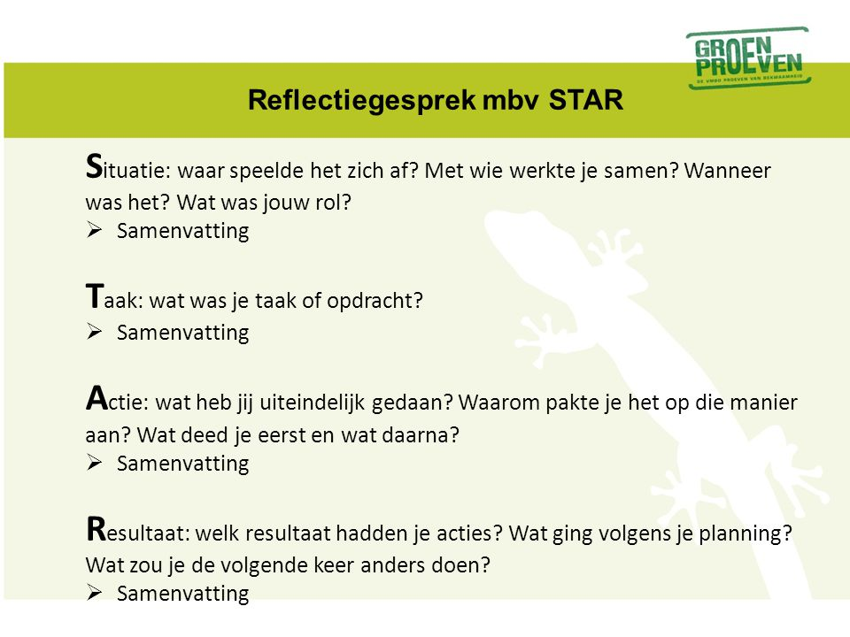 Reflectiegesprek mbv STAR