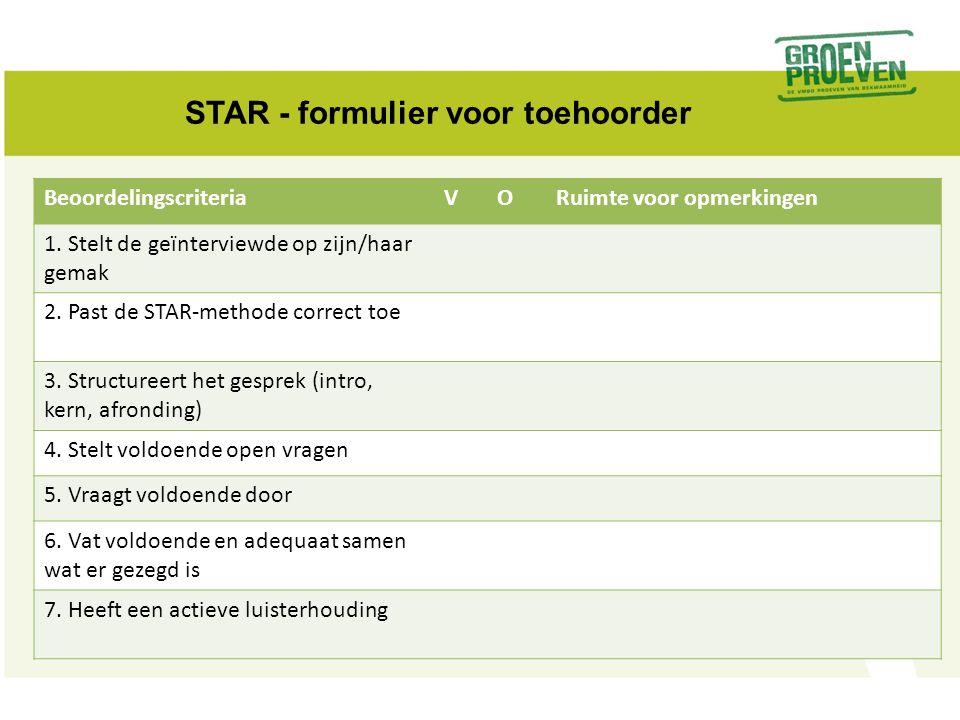 STAR - formulier voor toehoorder