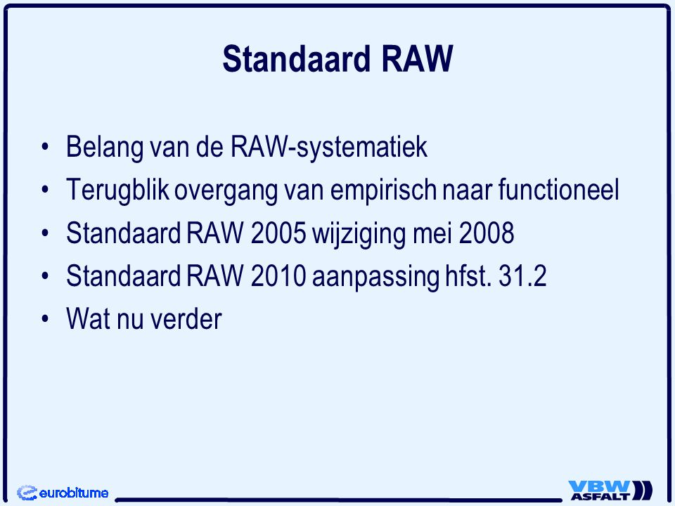 Standaard RAW Belang van de RAW-systematiek