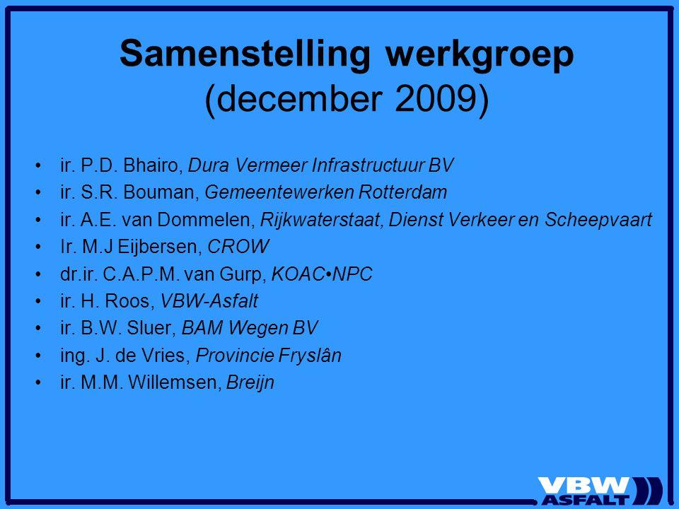 Samenstelling werkgroep (december 2009)