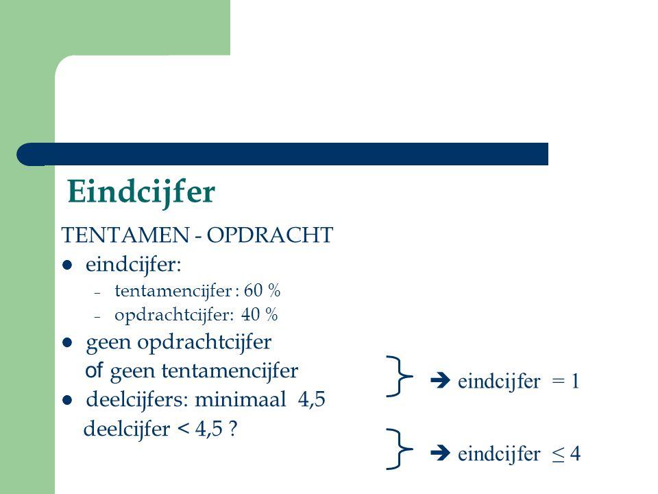 Eindcijfer TENTAMEN - OPDRACHT eindcijfer: geen opdrachtcijfer