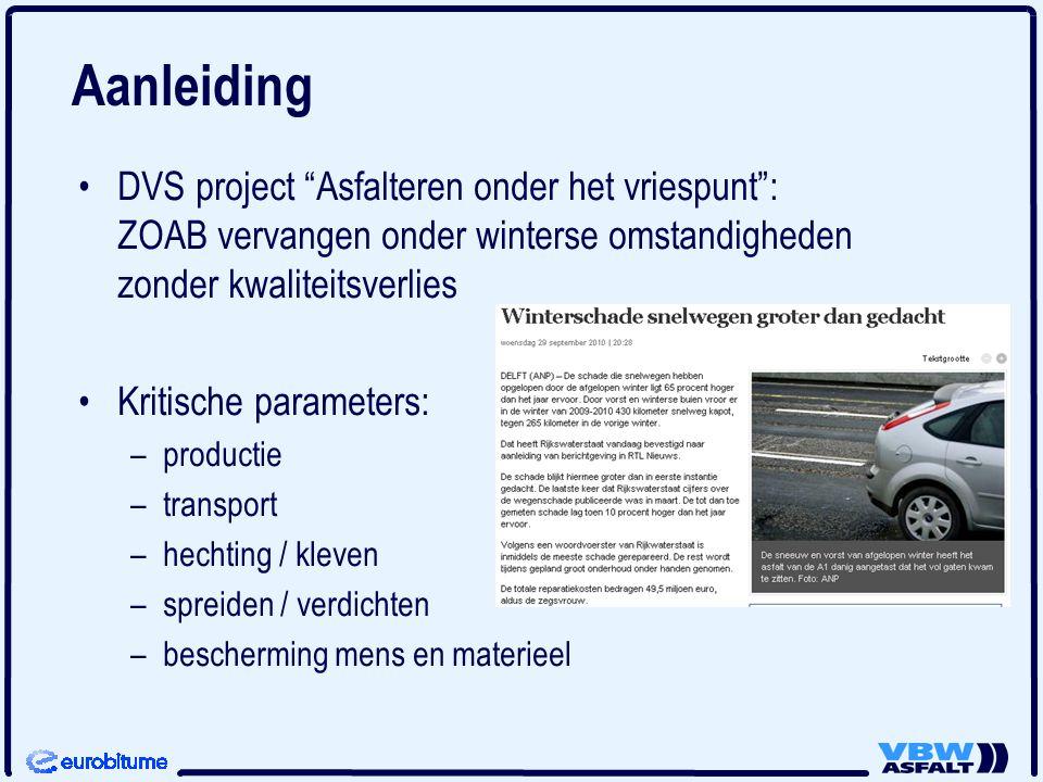 Aanleiding DVS project Asfalteren onder het vriespunt : ZOAB vervangen onder winterse omstandigheden zonder kwaliteitsverlies.