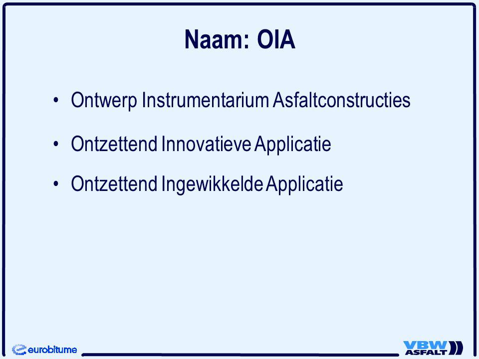 Naam: OIA Ontwerp Instrumentarium Asfaltconstructies