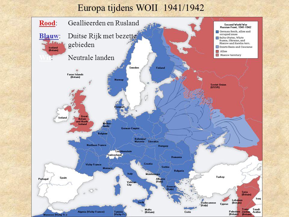 Europa tijdens WOII 1941/1942 Rood: Geallieerden en Rusland