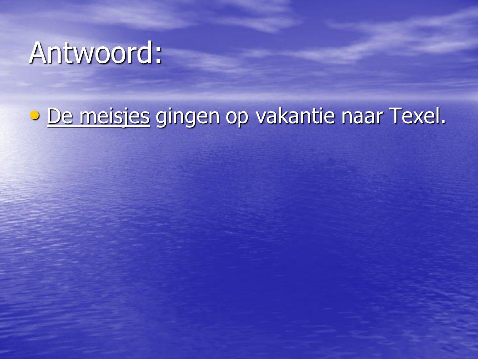 Antwoord: De meisjes gingen op vakantie naar Texel.