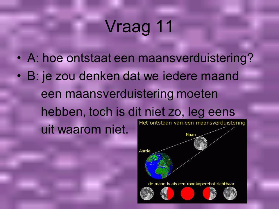 Vraag 11 A: hoe ontstaat een maansverduistering