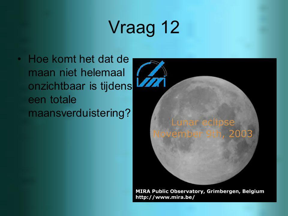 Vraag 12 Hoe komt het dat de maan niet helemaal onzichtbaar is tijdens een totale maansverduistering