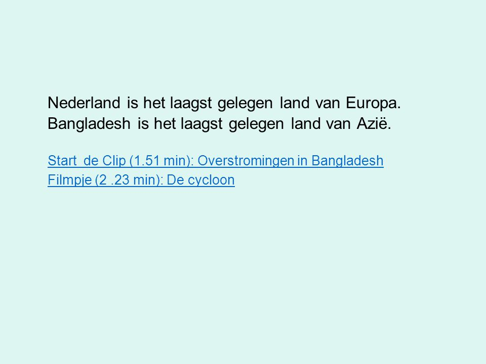 Nederland is het laagst gelegen land van Europa