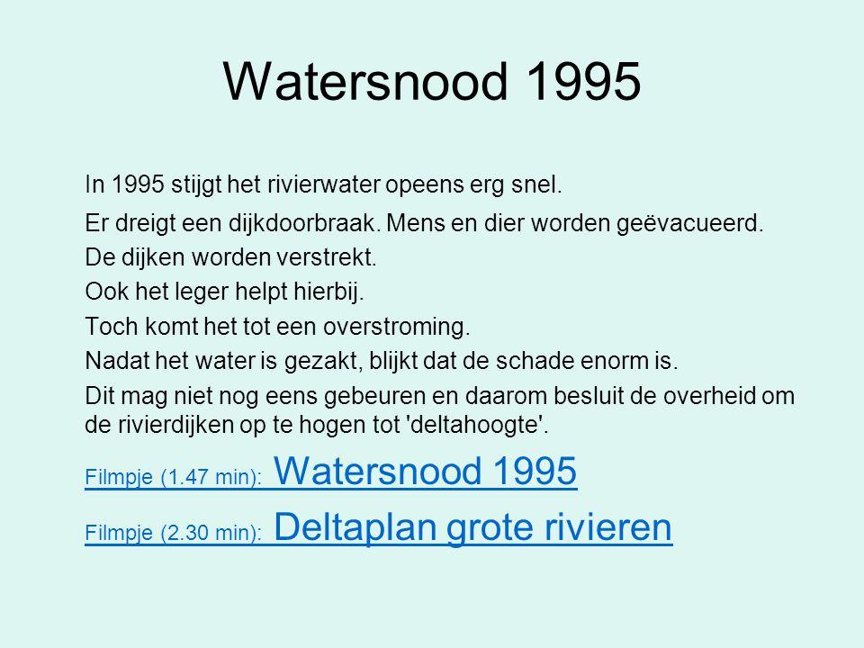 Watersnood 1995 In 1995 stijgt het rivierwater opeens erg snel.