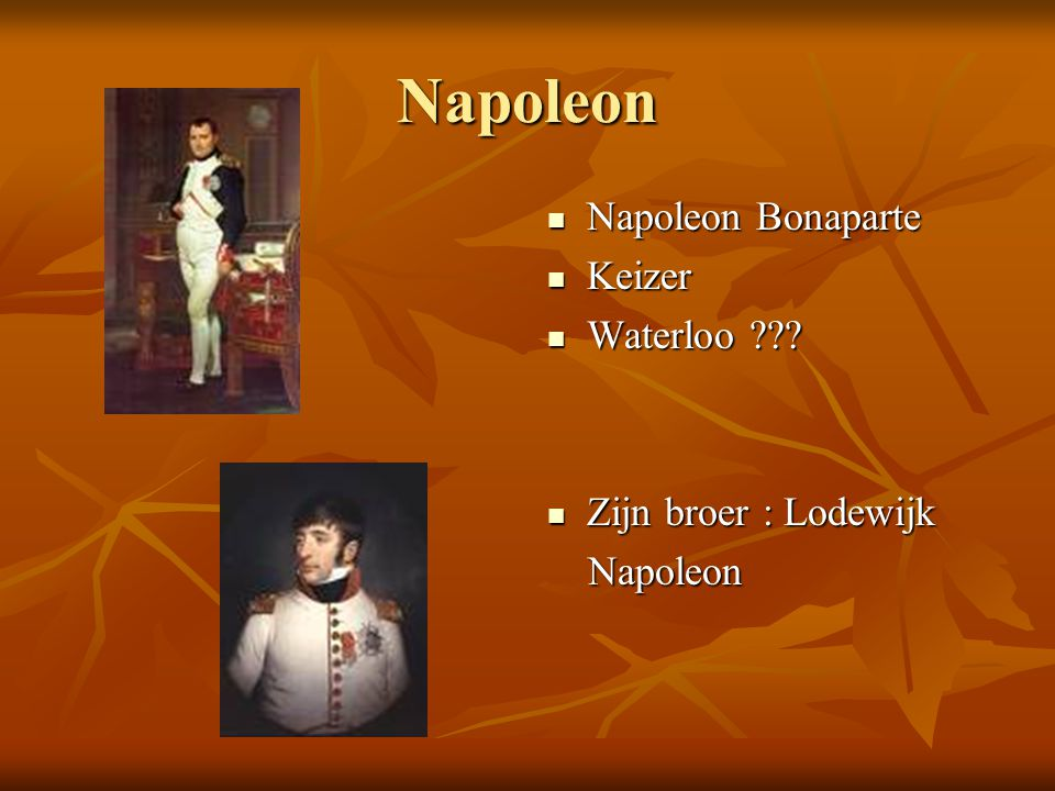 Napoleon Napoleon Bonaparte Keizer Waterloo Zijn broer : Lodewijk