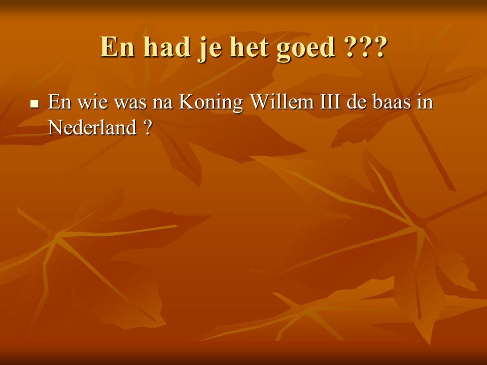En had je het goed En wie was na Koning Willem III de baas in Nederland