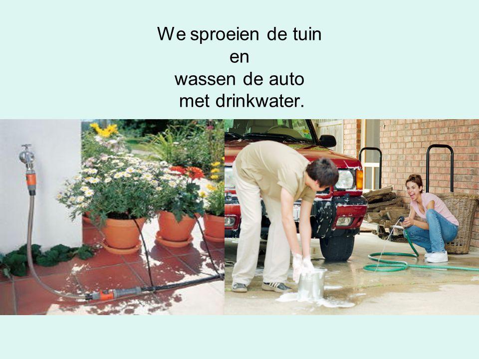 We sproeien de tuin en wassen de auto met drinkwater.