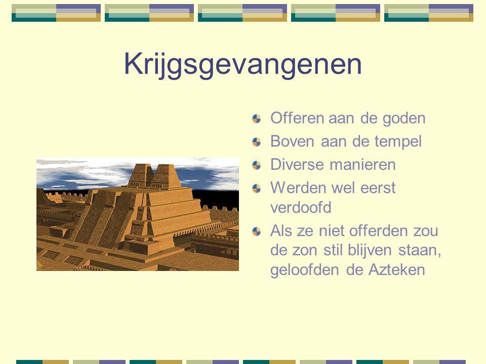 Krijgsgevangenen Offeren aan de goden Boven aan de tempel