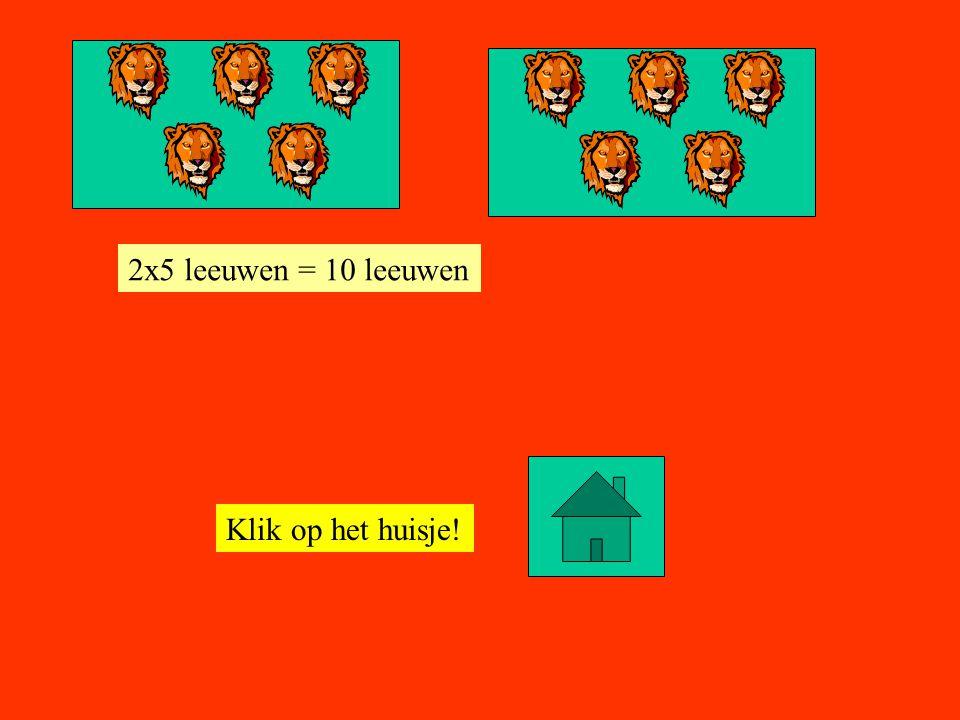 2x5 leeuwen = 10 leeuwen Klik op het huisje!