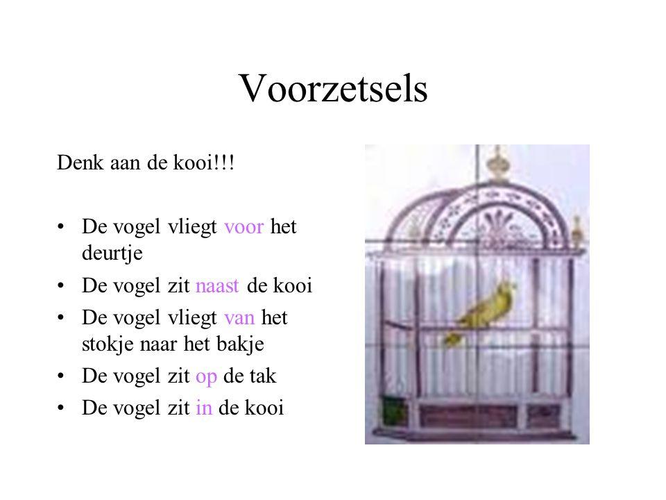 Voorzetsels Denk aan de kooi!!! De vogel vliegt voor het deurtje