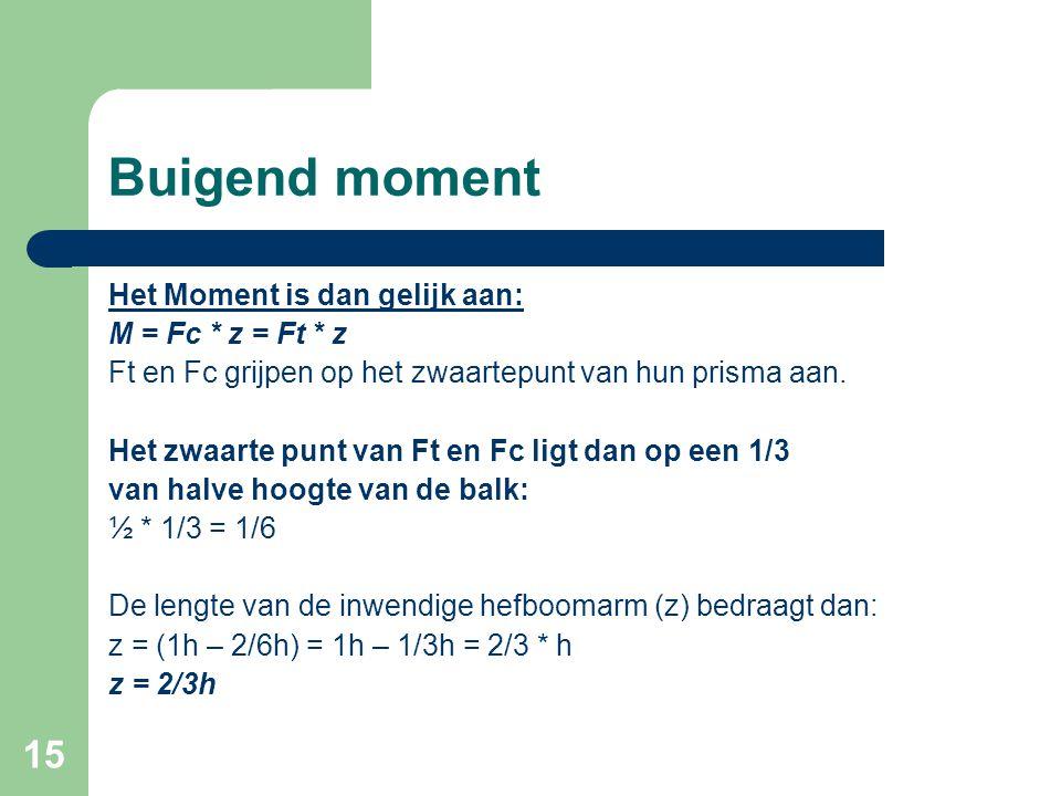 Buigend moment Het Moment is dan gelijk aan: M = Fc * z = Ft * z