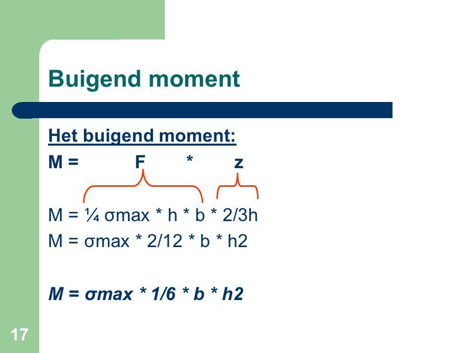 Buigend moment Het buigend moment: M = F * z M = ¼ σmax * h * b * 2/3h