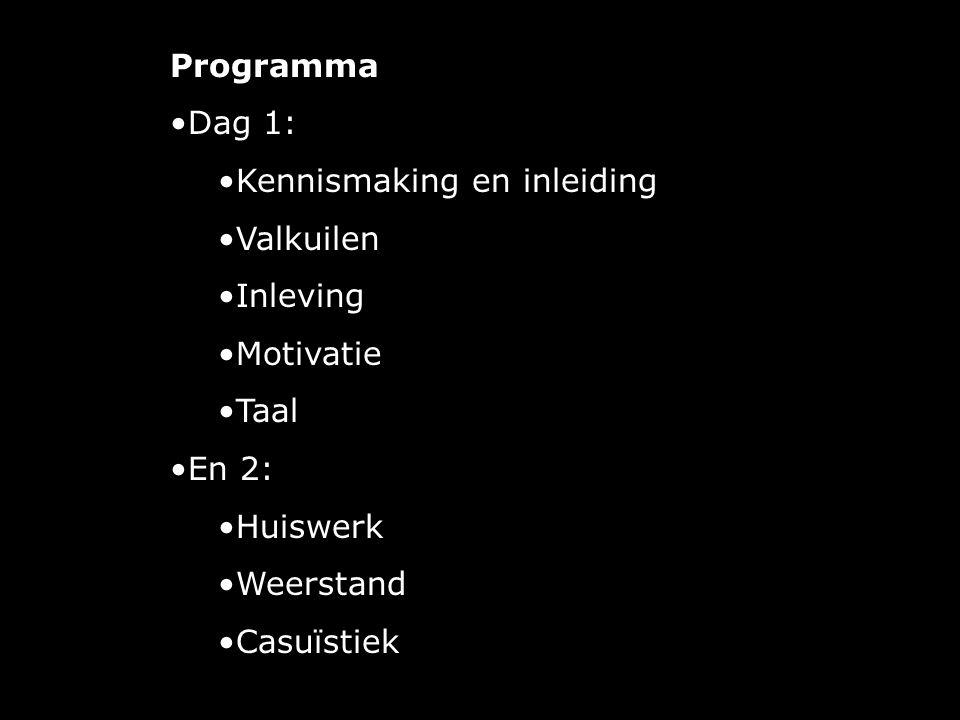 Programma Dag 1: Kennismaking en inleiding. Valkuilen. Inleving. Motivatie. Taal. En 2: Huiswerk.
