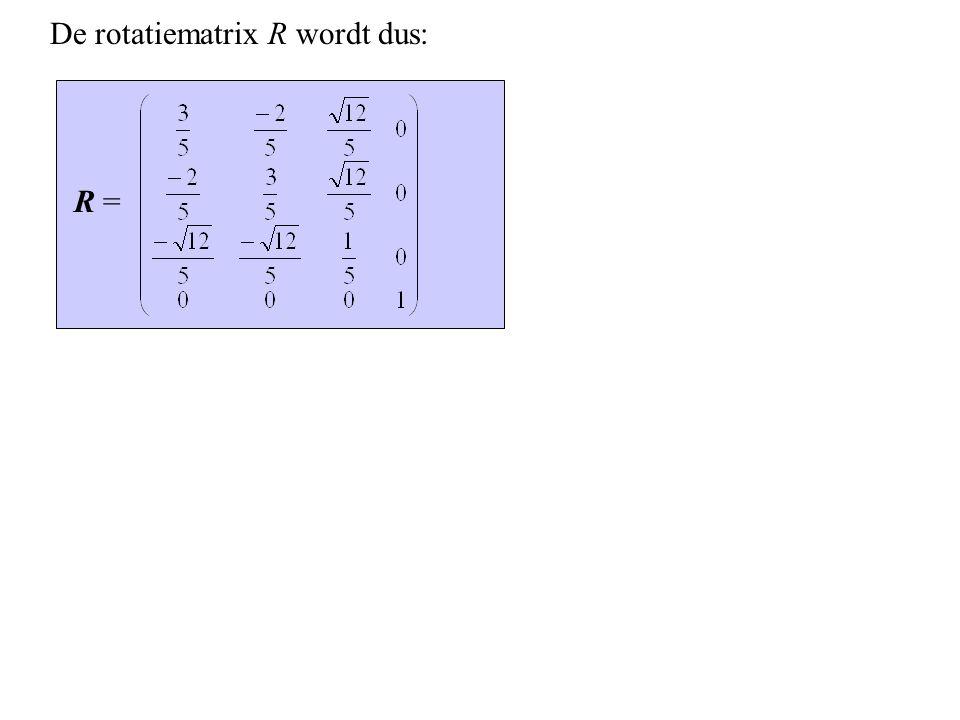 De rotatiematrix R wordt dus: