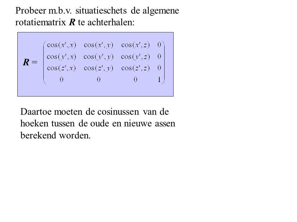 Probeer m.b.v. situatieschets de algemene rotatiematrix R te achterhalen: