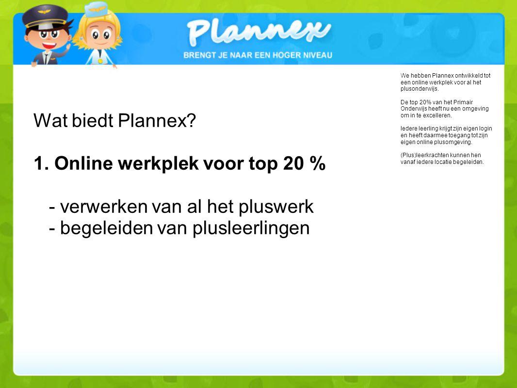 Wat biedt Plannex 1. Online werkplek voor top 20 % - verwerken van al het pluswerk - begeleiden van plusleerlingen