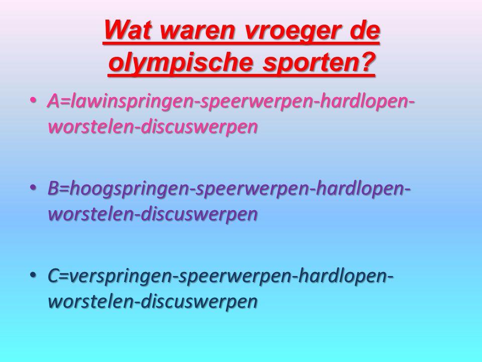 Wat waren vroeger de olympische sporten