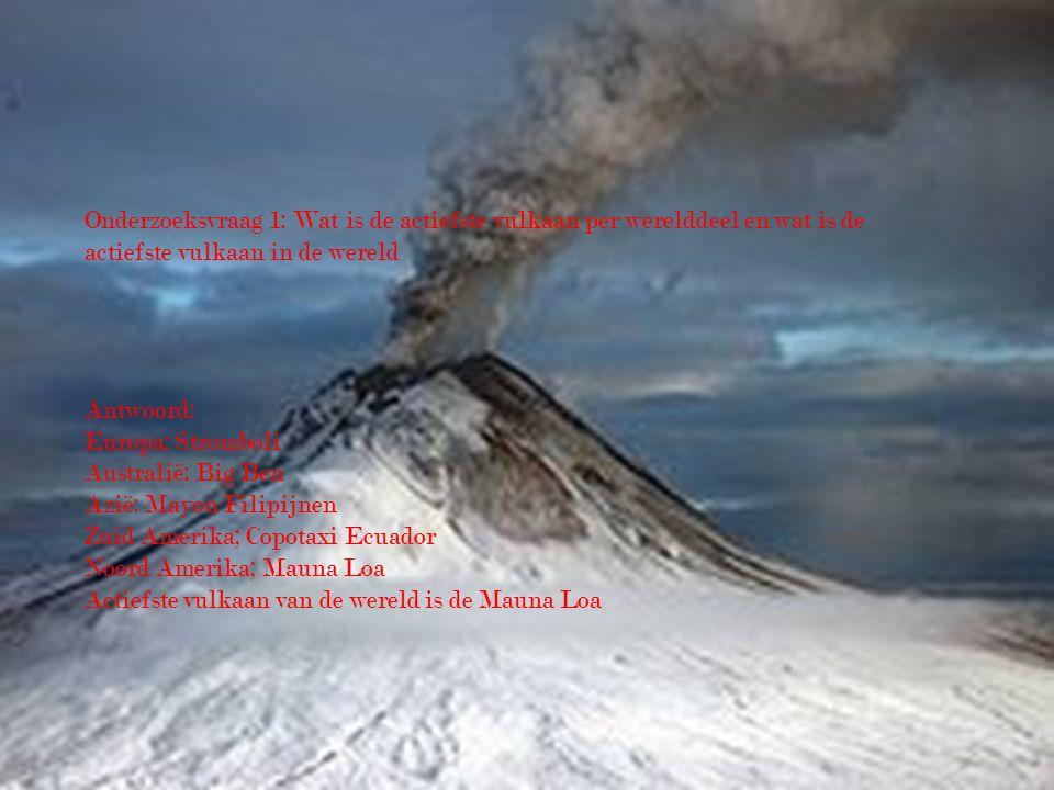 Onderzoeksvraag 1: Wat is de actiefste vulkaan per werelddeel en wat is de actiefste vulkaan in de wereld