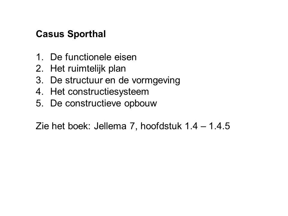 Casus Sporthal De functionele eisen. Het ruimtelijk plan. De structuur en de vormgeving. Het constructiesysteem.