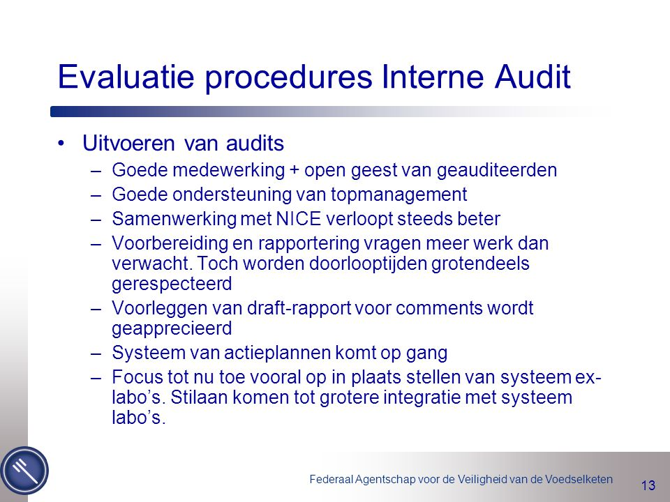 Evaluatie procedures Interne Audit