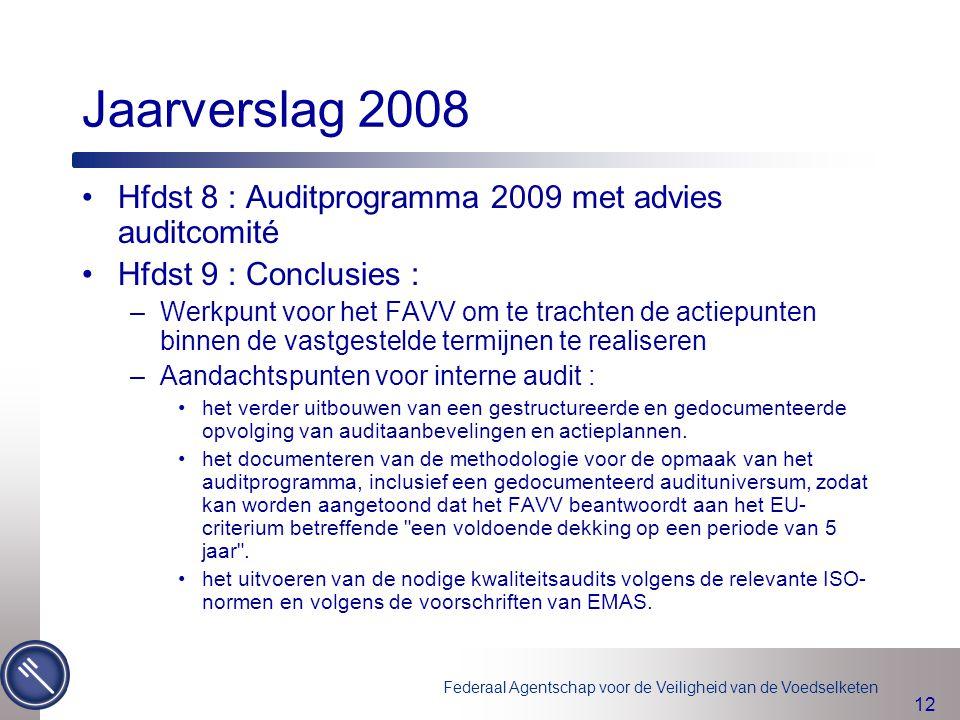Jaarverslag 2008 Hfdst 8 : Auditprogramma 2009 met advies auditcomité