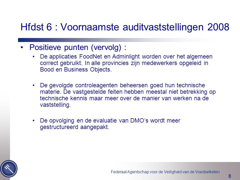 Hfdst 6 : Voornaamste auditvaststellingen 2008
