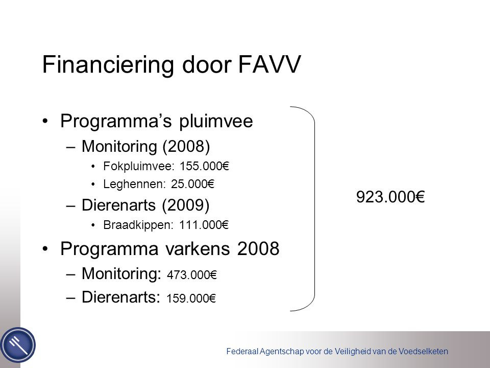 Financiering door FAVV