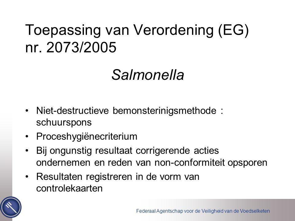 Toepassing van Verordening (EG) nr. 2073/2005