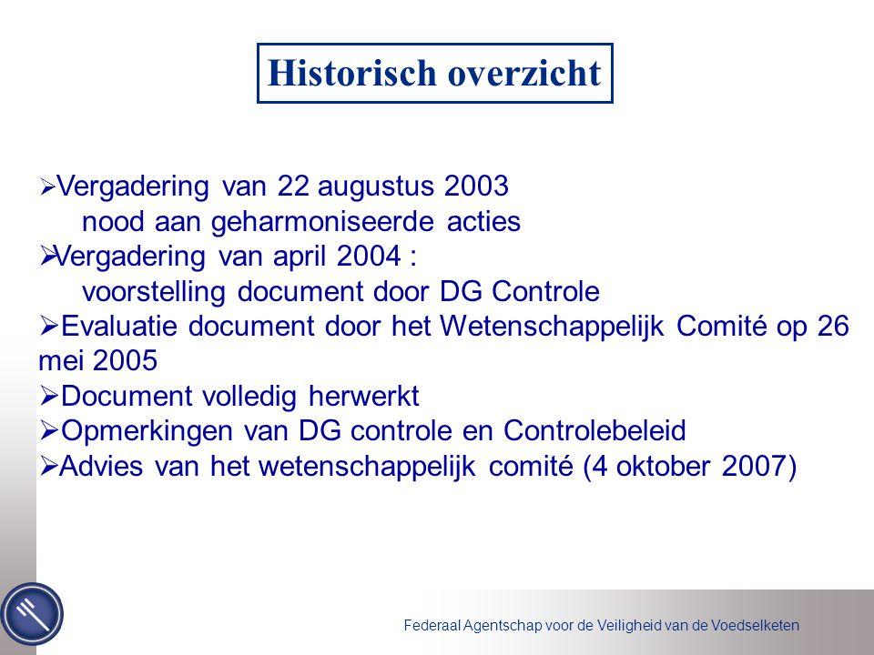 Historisch overzicht nood aan geharmoniseerde acties