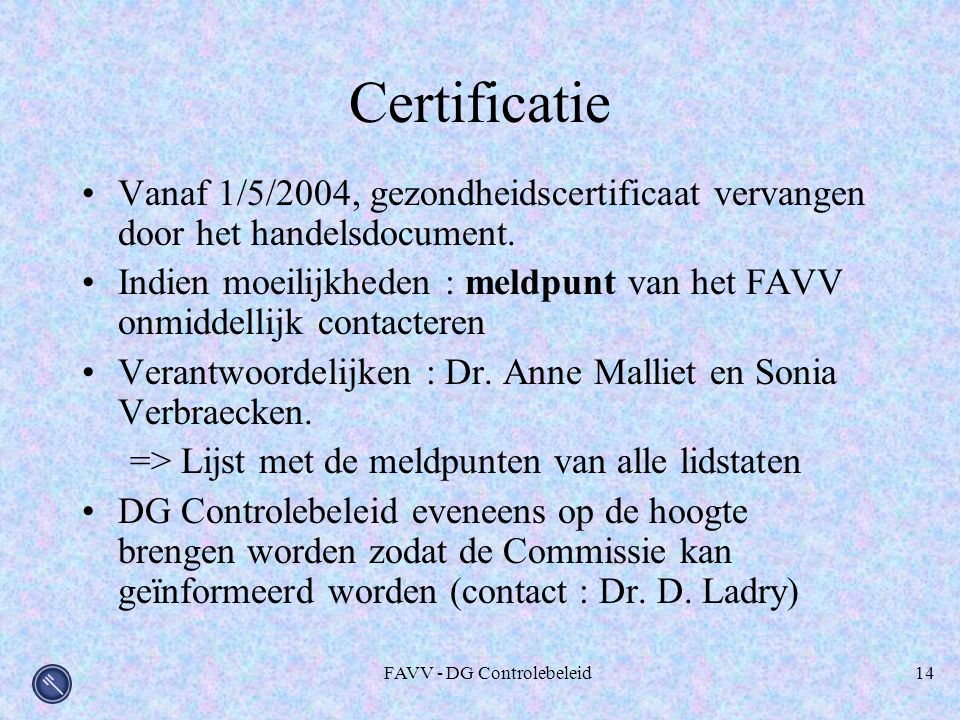 FAVV - DG Controlebeleid