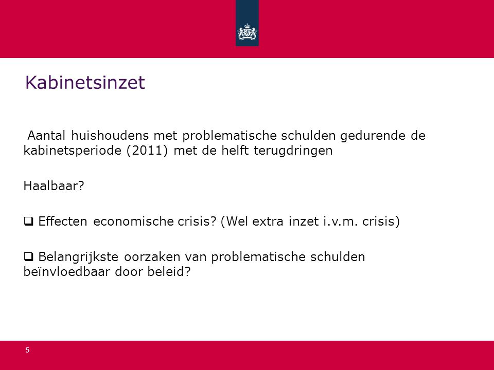 Kabinetsinzet Aantal huishoudens met problematische schulden gedurende de kabinetsperiode (2011) met de helft terugdringen.