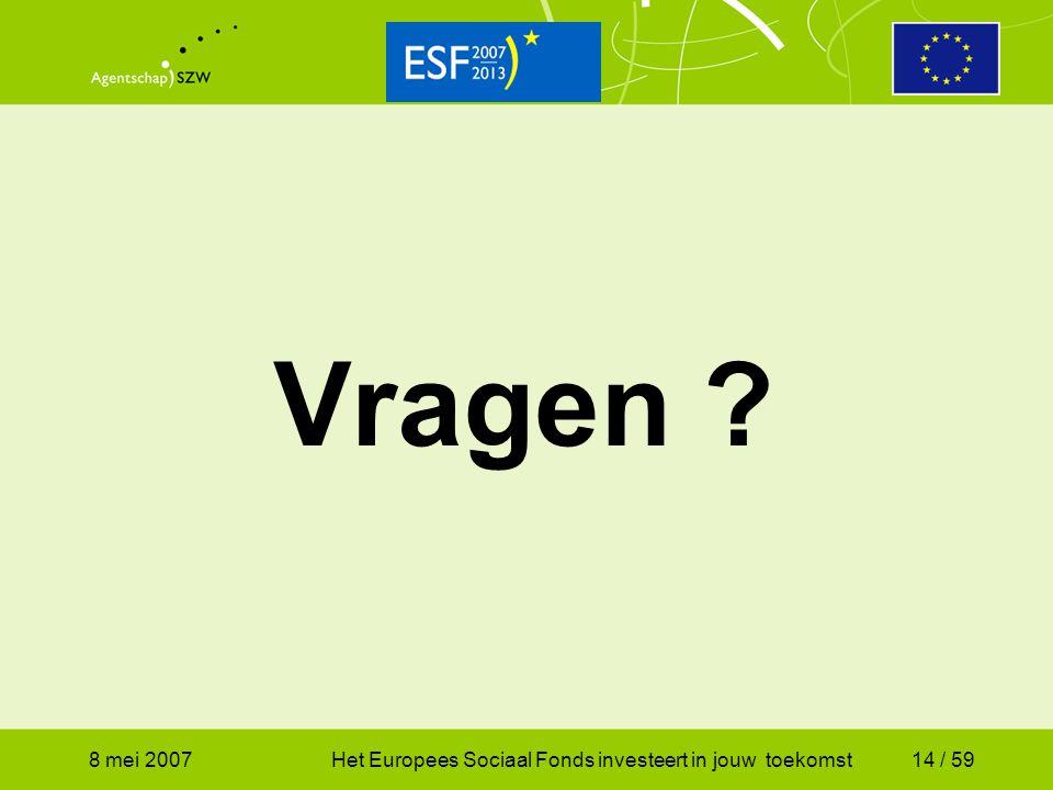 Vragen 8 mei 2007 Het Europees Sociaal Fonds investeert in jouw toekomst